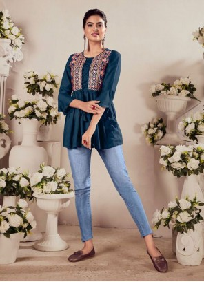 Rayon Navy Blue Embroidered Casual Kurti