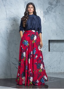 Rayon Navy Blue Printed Designer Lehenga Choli