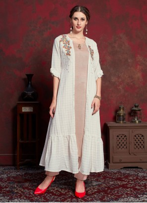 Rayon Off White Embroidered Party Wear Kurti