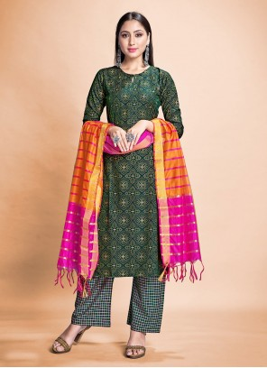 Rayon Pant Style Suit in Green
