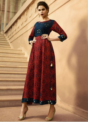 Blue And Red Rayon Party Wear Kurti