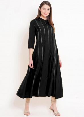 Rayon Party Wear Kurti in Black