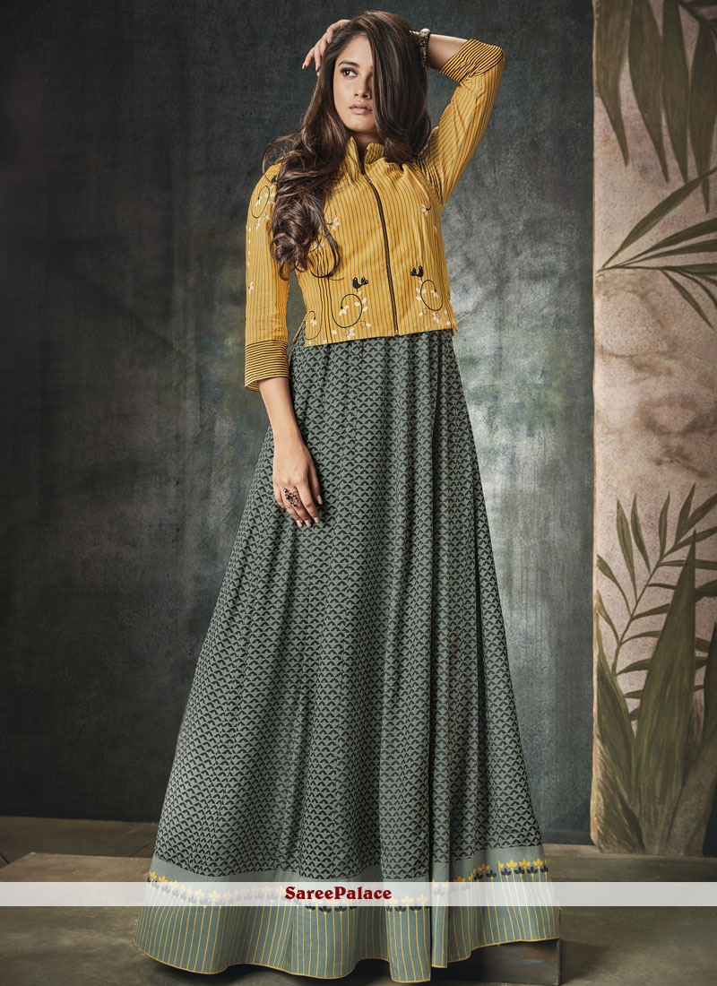 Rayon Party Wear Kurti in Grey and Yellow