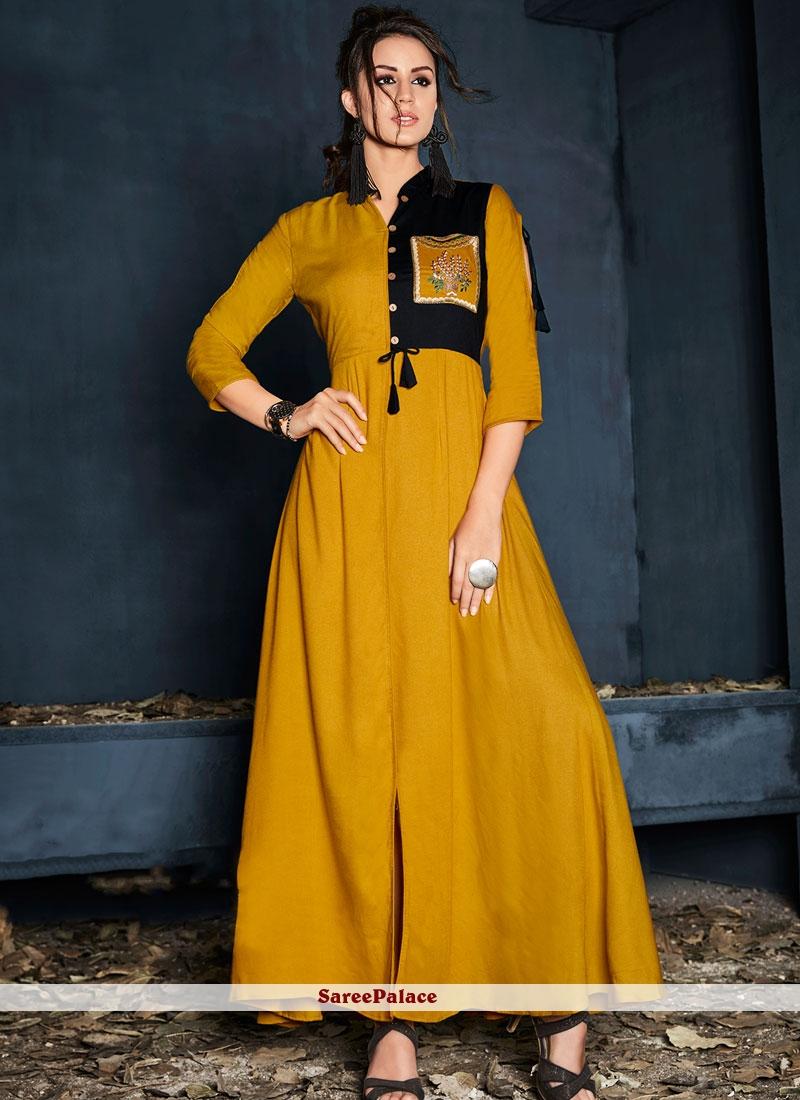 db444d239a2 Buy Rayon Party Wear Kurti in Mustard Online
