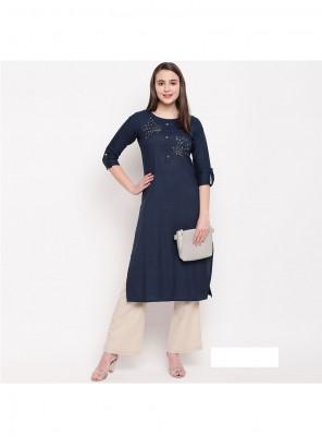 Rayon Party Wear Kurti in Navy Blue