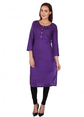 Rayon Party Wear Kurti in Purple