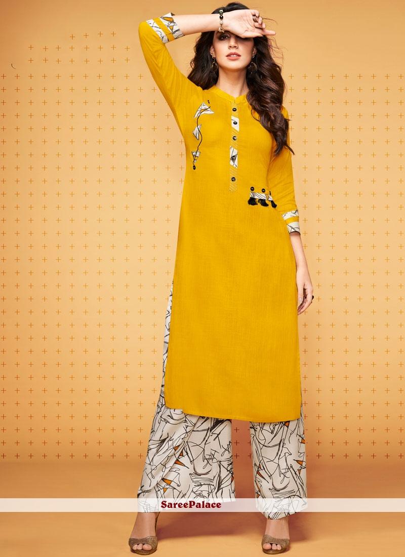 Rayon Party Wear Kurti in Yellow