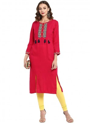 Rayon Pink Embroidered Party Wear Kurti