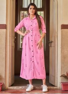 Rayon Pink Party Wear Kurti