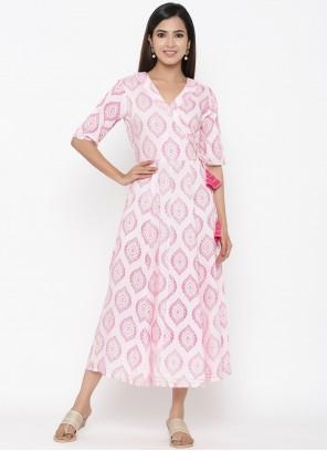 Rayon Pink Print Party Wear Kurti