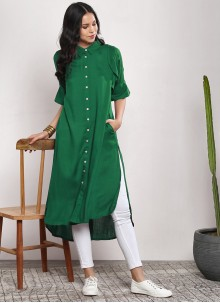 Rayon Plain Green Designer Kurti
