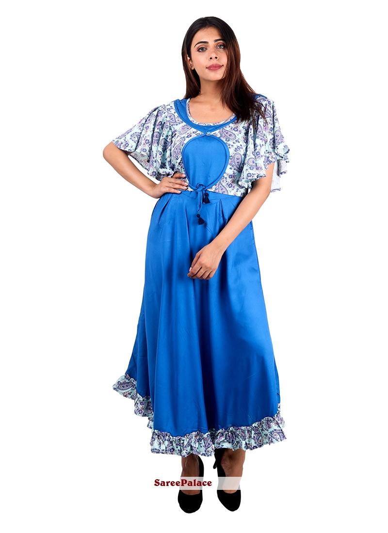 Rayon Plain Designer Kurti in Blue