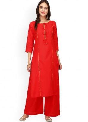 Rayon Plain Designer Kurti in Red