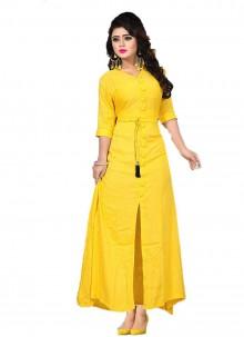 Rayon Plain Designer Kurti in Yellow