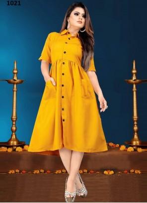 Rayon Plain Mustard Designer Kurti