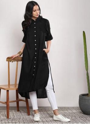 Black Rayon Plain Party Wear Kurti