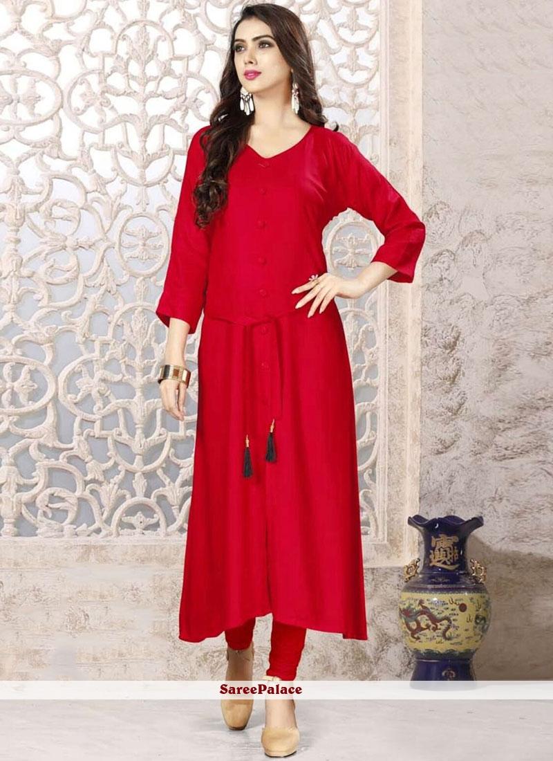 Rayon Plain Red Party Wear Kurti