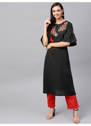 Rayon Plain Salwar Suit in Black