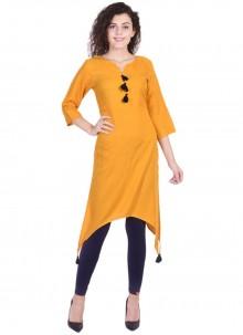 Rayon Plain Yellow Designer Kurti