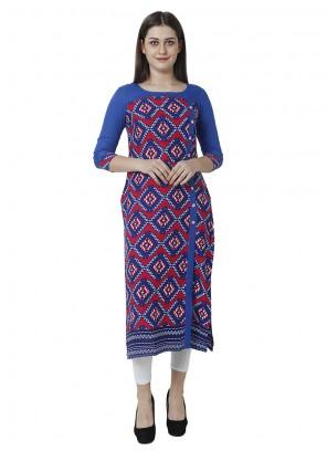 Rayon Print Blue Salwar Kameez