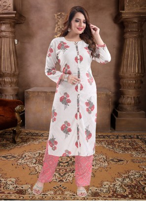 Rayon Print Off White and Pink Party Wear Kurti