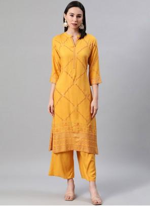 Yellow Rayon Print Party Wear Kurti