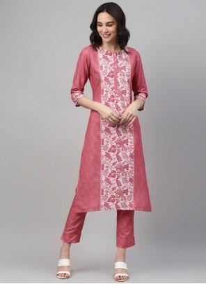 Pink Rayon Print Party Wear Kurti