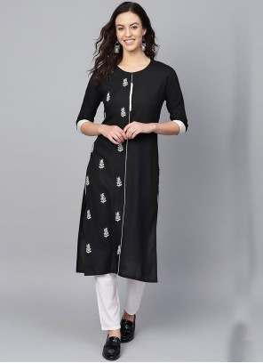 Rayon Print Party Wear Kurti in Black