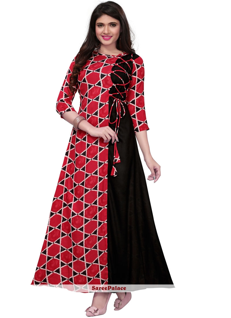 Rayon Print Party Wear Kurti in Black and Red