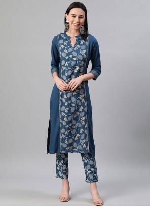 Rayon Print Party Wear Kurti in Blue