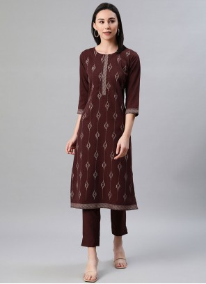 Rayon Print Party Wear Kurti in Brown