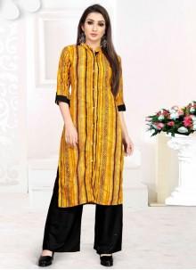 Rayon Print Party Wear Kurti in Yellow