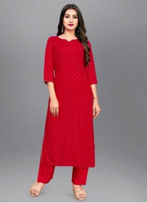 Rayon Print Red Designer Kurti