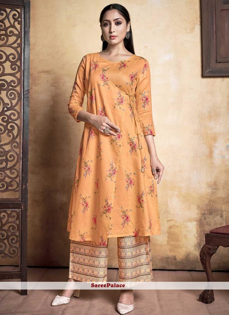 Orange Rayon Printed Designer Kurti