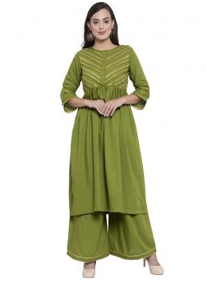 Rayon Printed Green Party Wear Kurti