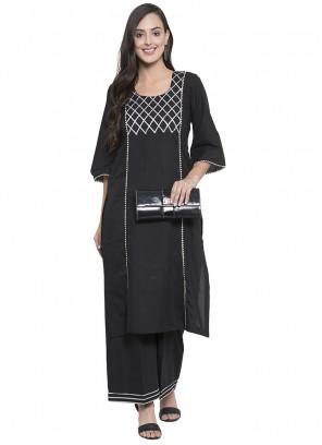 Rayon Printed Party Wear Kurti in Black