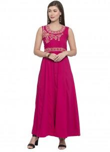 Rayon Printed Pink Party Wear Kurti