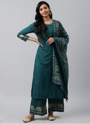 Rayon Printed Teal Bollywood Salwar Kameez