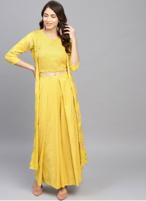 Rayon Printed Yellow Casual Kurti