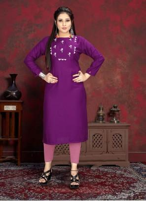 Rayon Purple Designer Kurti