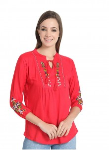Rayon Red Embroidered Casual Kurti
