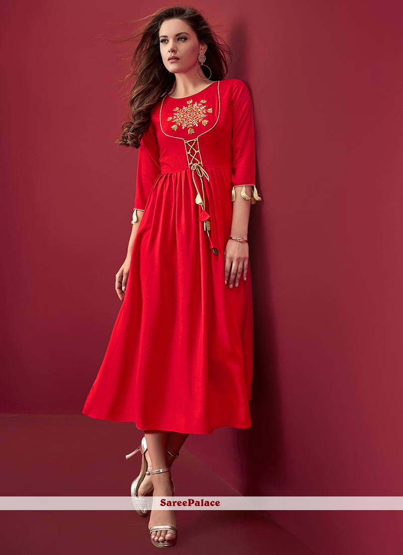 Rayon Red Embroidered Party Wear Kurti