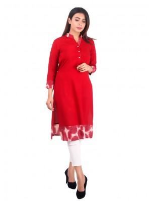 Rayon Red Plain Casual Kurti