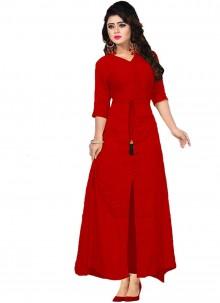 Rayon Red Plain Designer Kurti