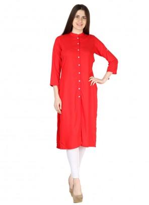 Rayon Red Plain Party Wear Kurti