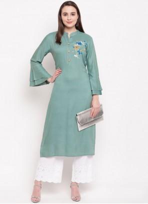 Rayon Sea Green Designer Kurti