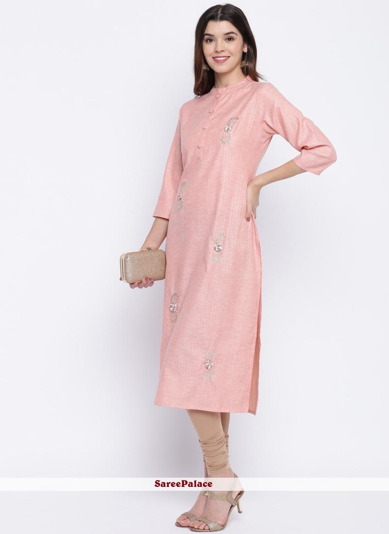 Pink Rayon Thread Casual Kurti