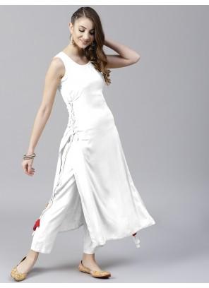 Rayon White Plain Salwar Suit