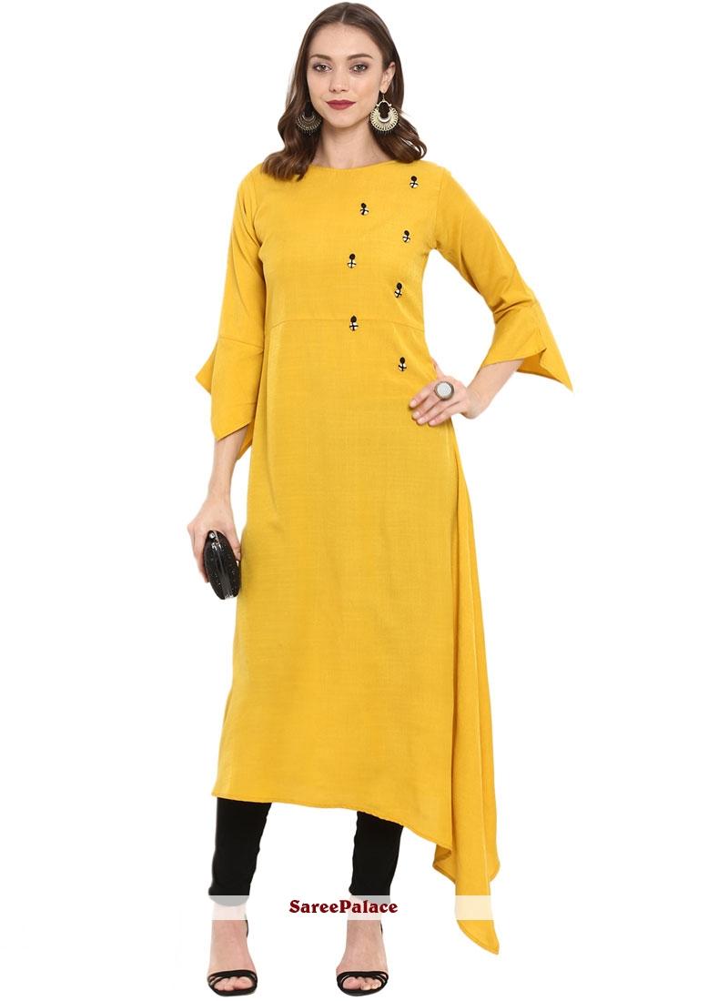 Rayon Yellow Fancy Casual Kurti