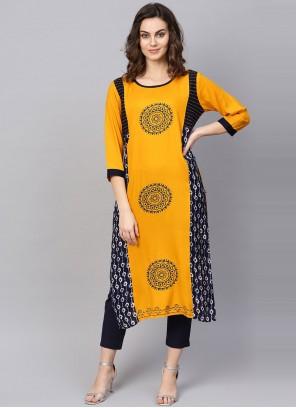 Rayon Yellow Print Party Wear Kurti